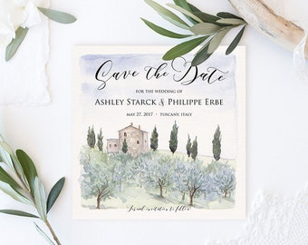 Sample - Tuscan Impressions- Watercolor Save the Date Card - Italy Wedding