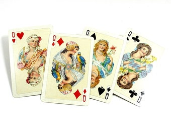 4 Vintage Luxury Playing Cards | Mid Century All QUEEN Cards | Swap Cards | Piatnik Playing Cards | Queen of Hearts | Paper Ephemera