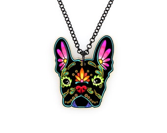 French Bulldog in Black Day of the Dead Sugar Skull Dog Necklace