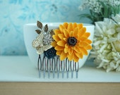 Sunflower Butterfly Comb, Sunflower Wedding Gift, Sun Flower Hair Clip, Large Sunflower, Bridesmaid Gift Comb, Woodland Rustic Fall Wedding