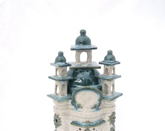 Ceramic Toad House handbuilt Fairy Monastery Gnome Fairy garden stoneware clay ooak garden art sculpture pond ornament keepsake claysoul