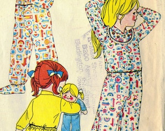 Vintage 70s McCalls 4213 Childs 2 Pc Footed Pajamas Sewing Pattern Size 5