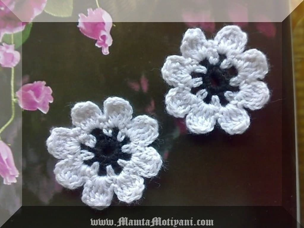 Easy Crochet Flower Pattern For Beginner 8 Petals Flowers