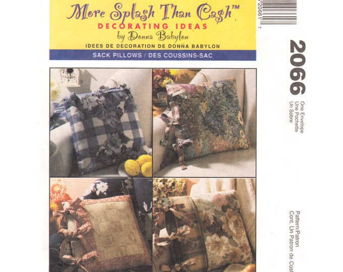 Pillow Cover Sewing Pattern McCalls 2066 Sack Cushion Covers Tie Closing Pillow Case