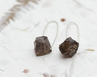 Modern Hook Earrings Raw Smoky Quartz Argentuim Sterling Silver Handmade Urban Minimalism Geometric Jewelry minimal chic