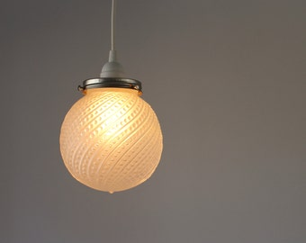 Pendant Light, Hanging Pendant Lamp, Frosted Glass Ball Globe Shade With Bead Swirls, Modern BootsNGus Lighting and Home Decor
