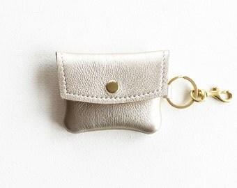 Metallic Leather Keychain Wallet, Leather Keychain Coin Purse, Keychain Credit Card Wallet, Keychain ID Wallet, Metro Card Keychain Pouch