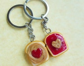 Peanut Butter and Strawberry Jelly Best Friend Key Chains, Bff, Friendship Key Chains,  Strawberry, Hearts, Polymer Clay