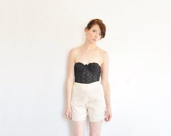 1930 silk lace tap pants . pale cream high waist unmentionables .large