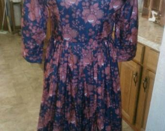 BIG SALE Fall Palette Early 60s Designer L'Aiglon Fruit and Floral Print Full Skirt Dress  - M/L