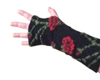 Arm Warmers in Black, Fingerless Gloves,  Wrist Warmers, Wool Fingerless Mittens, Wool Fingerless Gloves, Gauntlets