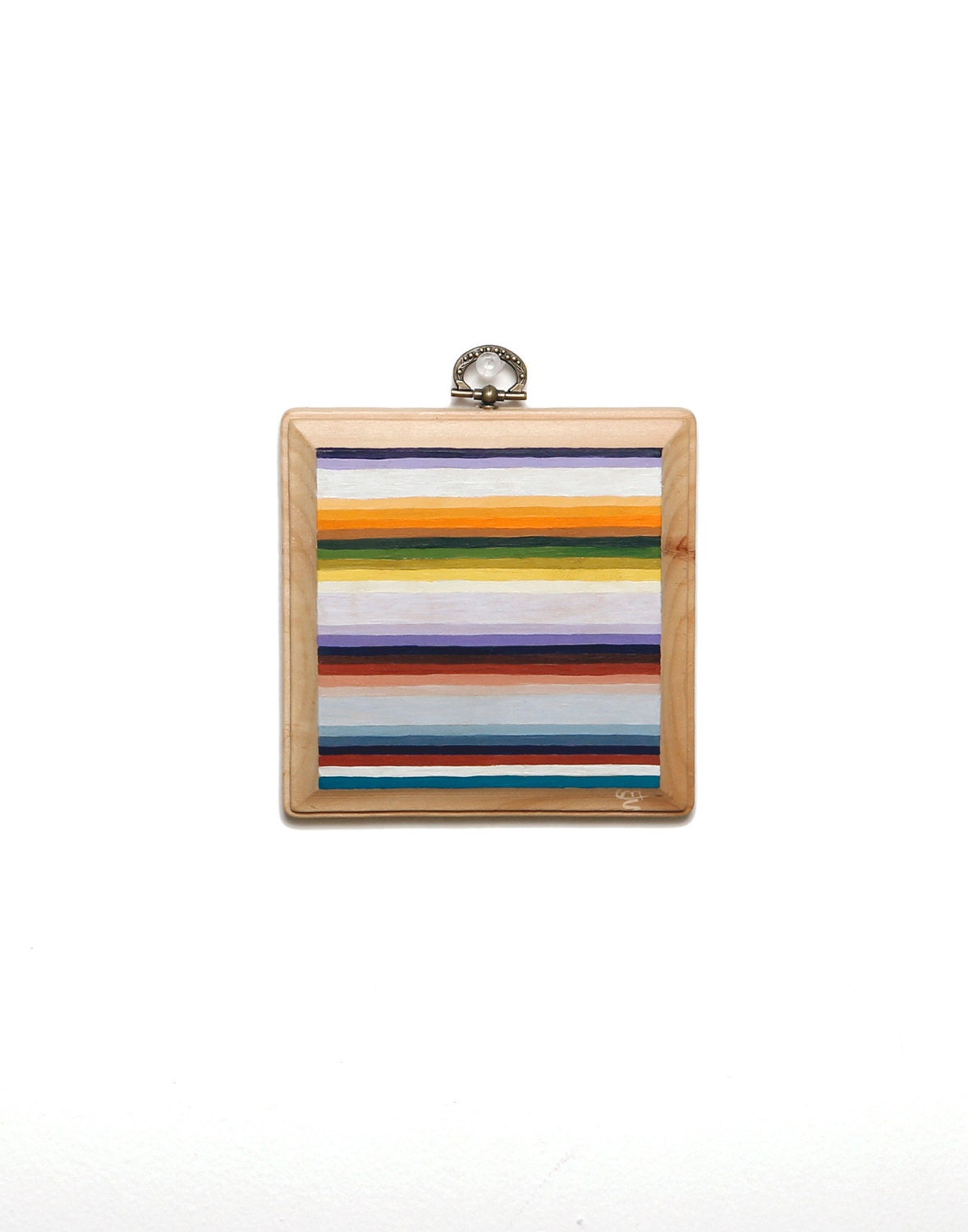 "ORIGINAL ""Serape No.1"" Painting -- Acryla Gouache on Square Wood Plaque -- 60's Mexican Blanket Pattern -- Pastel Ombre Stripes -- 5x5"""