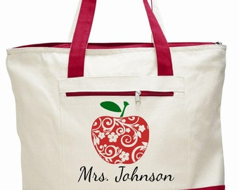 Teacher bag, teacher tote, apple bag, personalized teacher bag, teacher appreciation gift, book bag, teacher gift, canvas zippered bag