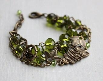 Olive Green Triple Strand Owl Bracelet