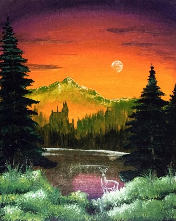 black lake bob ross style harry potter acrylic painting