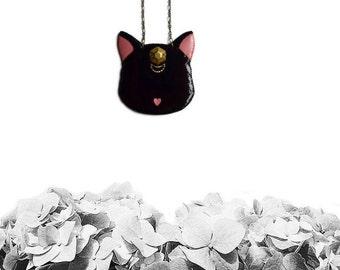 Black Cat necklace, Lunar Cat necklace, animal jewelry, cat jewelry