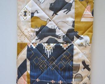Southwestern Tribal Baby Quilt-TeePee-Arrows-Navy-Gray-Mustard-Peach-Indian-Buffalo-Gender Neutral Crib Bedding-Aztec Baby Blanket