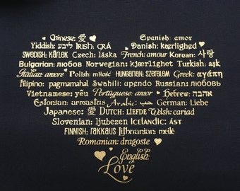 "CLEARANCE ~ LOVE Languages Tote Bag - Gold Ink on Black - Canvas Bag - Carryall Tote - Original Design - More info in ""Item Details"""