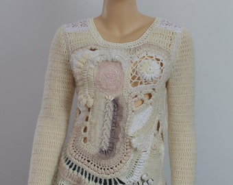 Unique Crochet Sweater Bohemian  Freeform Crochet Nuno Felted Sweater Top Tunic - Ivory White Cappuccino - Wearable Art-Size S-M/Fall Winter