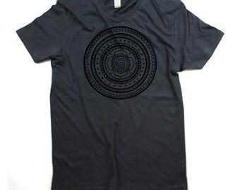mens mandala shirt, mens organic mandala, grey mandala shirt, unisex, mandalas - small, medium, large, xl