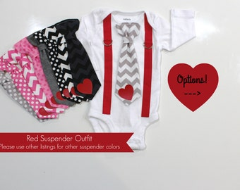 Valentine Outfit For Baby Boy. Newborn Boy Valentine Day. My First Valentineu0027s  Day.