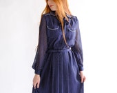 Navy blue polka dot vintage dress, Japan, small