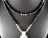 Fine Silver Black Fused Glass Black Spinel Necklace Set