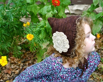 Hand Knit Merino Wool PIxie Hat Bonnet Size 5-7 Years