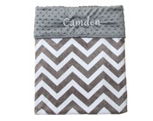 Personalized Double Sided Baby Blanket or Lovey - Grey Chevron, Gender Neutral, Shower Gift, Custom Made, Throw Blanket, Nursery Bedding