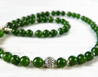 Beaded Dark Green Jade Necklace Statement Emerald Sterling Silver Forest Green Necklace Moss Green Gemstone Necklace March Birthstone Gift
