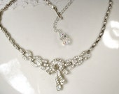Original 1930s Art Deco Necklace, Pave Clear Rhinestone Flapper Necklace, Vintage Wedding Silver Bridal Statement Necklace, Great Gatsby