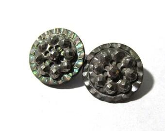 Victorian Cut Steel MOP Buttons Cut Steel Mother of Pearl ANTIQUE Buttons Victorian Two (2) Buttons Edwardian Jewelry Sewing Supplies (M65)