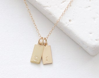 Single Initial Tags Necklace   gold