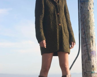 Long Dark Green Chunky Fuzzy Collared Oversized Cardigan Sweater with pockets