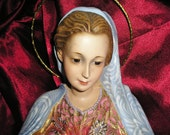 Vintage Exquisite Virgin Mary Holding Baby Jesus Olot Spain Sacred Religious Art w/ Glass Eyes and Risa Stunning...