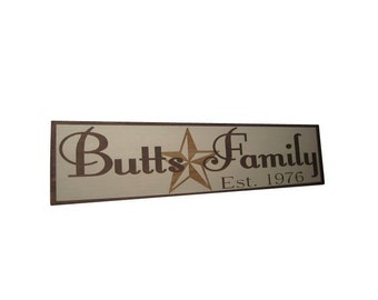 Custom Texas themed Personalized Family Name Painted Wood Sign