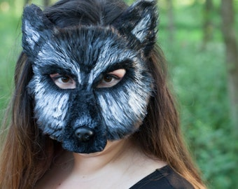 Silver Fox mask, Shaggydog direwolf mask, fox mask, silver fox, fox costume, couple costume, shaggydog costume, black wolf mask,