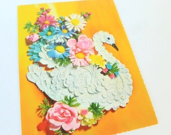 Happy Anniversary Greeting Card Lace Swan and Flowers 1960s Unused with Envelope