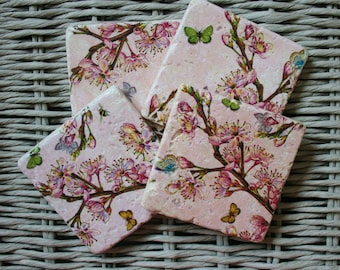 Pink Floral Nature Stone Coaster Set of 4 Tea Coffee Beer Coasters