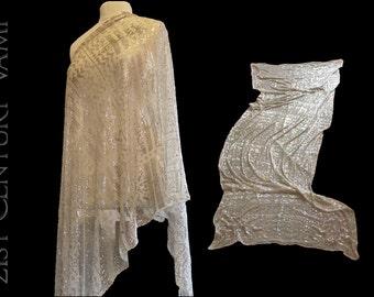 1920s Silver Assuit Shawl. Beautiful Patterns. Wedding Shawl. Original Art Deco. Egyptian Revival. Tribal Fusion Bellydance