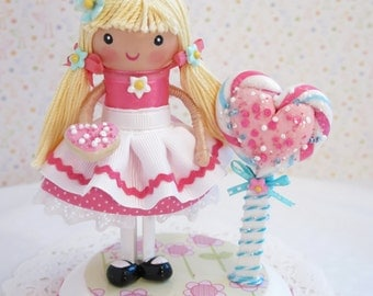 Candyland Birthday Party, Sweet Shop Party, Cake Topper, Little Girl Birthday Party, First Birthday, 1st 2nd 3rd Birthday, Clothespin Doll