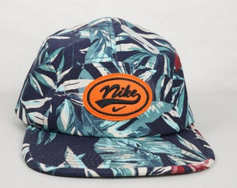 Vintage Nike Patch NEW Tropical Print 5 Panel Strapback Hat Cap One of a Kind