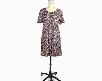 Vintage 90s Babydoll Corset Dress in Black Floral / 90s Grunge Floral Dress - women's medium