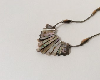 Vintage Silver & Carved Seashell Necklace Mother of Pearl / Silver Beads