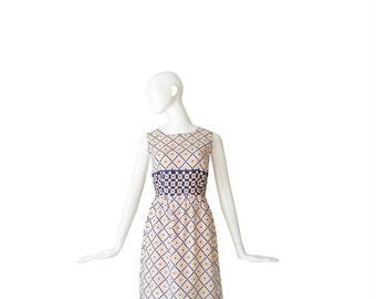 1960s Sheath Dress • 60s Sleeveless Day Dress • Small S