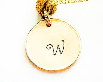 Gold Pendant Initial Disc, 14k Gold Charm, Stamped Disc Charm, Birthday Gift, Personalized Jewelry, Gold Jewelry, Handmade, Venexia Jewelry