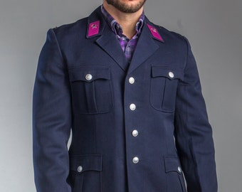 1980's Authentic MILITARY STYLE VINTAGE East German Navy Blue Blazer / Jacket ( Un-Issued)