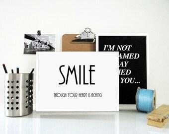 Art Print Smile, Though Your Heart is Aching, Lyrics Print, Love Print, Hearthache, Inspirational Poster, Wall Art, Retro Print, Typography
