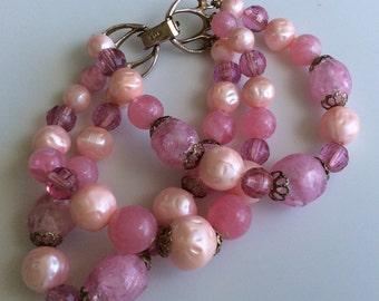Star Pink and Rose Three Strand Bead Bracelet