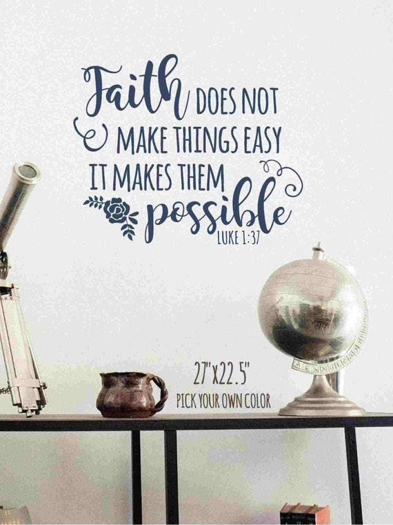 Faith Luke 1:37 Wall Decal by WallGlitz